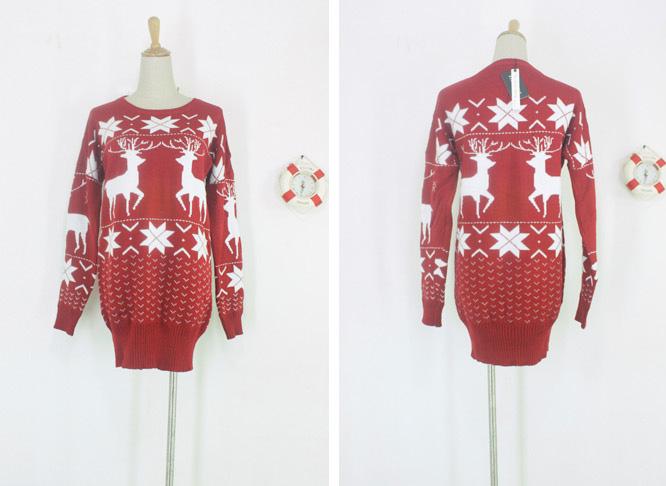 Christmas Womens Red Knitting Sweater White Snow David's Deer Knit Tops 4201 | eBay