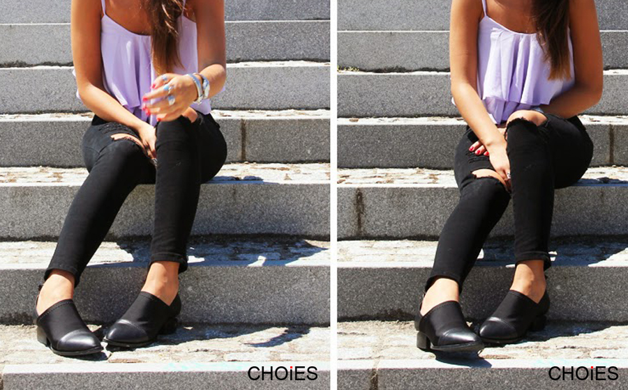 Black Skinny Jeans with Ripped Leg   Choies