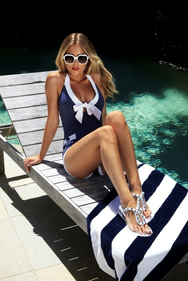 swimwear clothes swimwear vintage retro navy white bow summer beach swimwear one piece swimsuit one piece swimsuit nautical scoop neck sailor stripes bikini shoes sunglasses blue and white deep neck with bow
