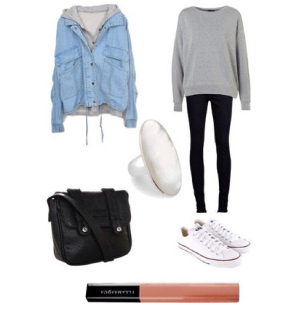 jacket sweater top bag jeans