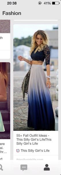 skirt maxi skirt ombre ombre skirt blue skirt