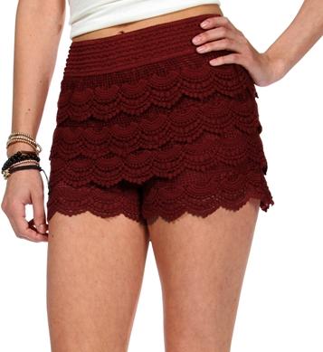 SALE-Burgundy Pull On Corchet Shorts