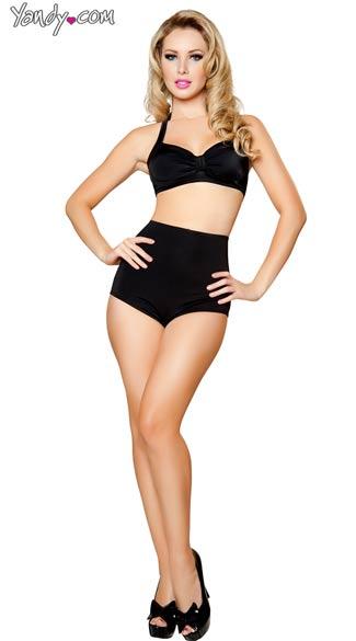 Black Retro Two Piece Set, Black Retro Bikini, Black High Waisted Shorts and Top