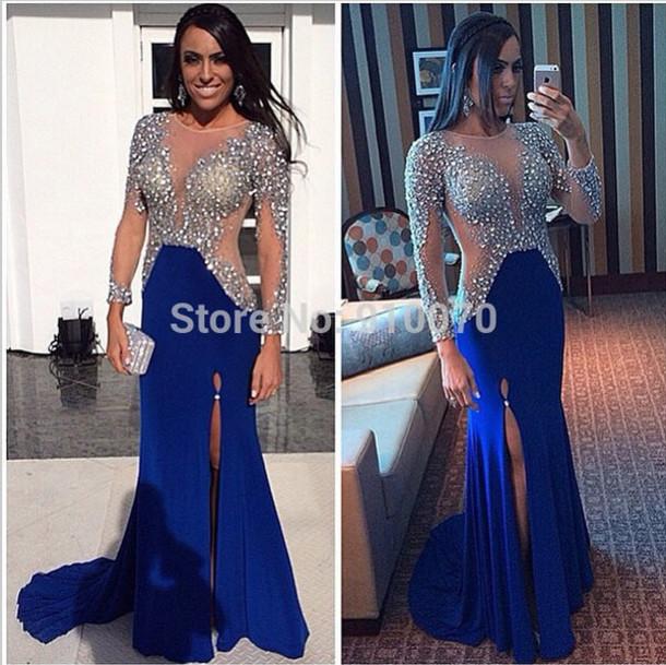 dress crystals prom dress slit dress royal blue prom dress long prom dress long sleeve prom dresses party dress