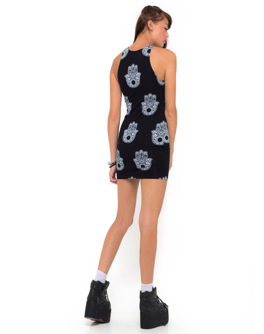 Buy Motel Zena Bodycon Dress in Henna Hand Print at Motel Rocks