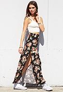 Flower Patch Slit Maxi Skirt | FOREVER21 - 2000065074