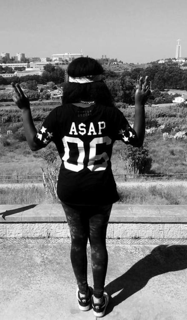 t-shirt ASAP Rocky 182067 asap 06 black white black and white