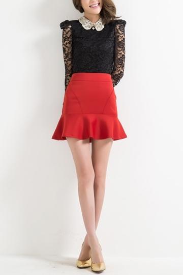 OL Style High Waist Skirt with Frilly Hem [FMCC0155] - PersunMall.com