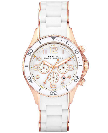 Marc by Marc Jacobs Watch, Women's Chronograph Rock White Silicone-Wrapped Rose Gold Ion-Plated Stainless Steel Bracelet 40mm MBM2547 - Watches - Jewelry & Watches - Macy's