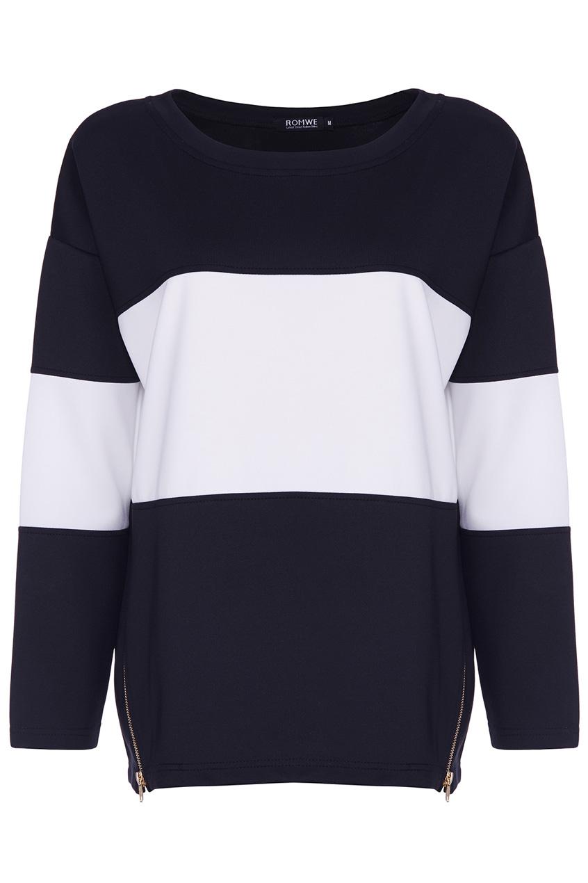 ROMWE | ROMWE Zippered Black and White Sweatshirt, The Latest Street Fashion