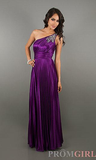 One Shoulder Prom Gowns, One Shoulder Purple Long Dress- PromGirl