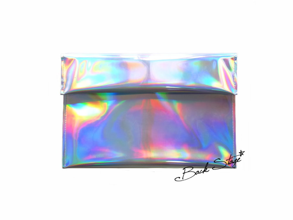 Limited Edition - Handmade Hologram Holographic Metallic Mirrors Clutch Handbag | Back Stage*