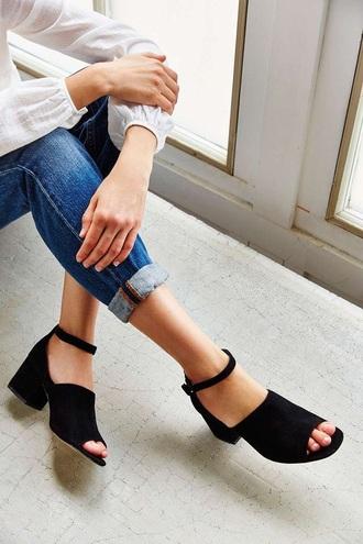 shoes sandals ankle strap heels mid heel sandals suede shoes black sandals black heels medium heels minimalist shoes minimalist block heel sandals jeans blue jeans