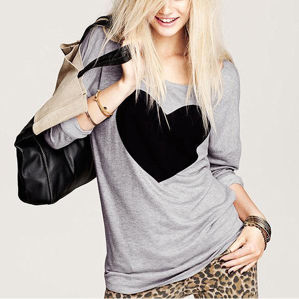 Heart Shaped Pattern Gray Sweater Round Neck Long Sleeved T Shirt | eBay