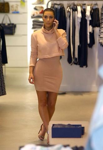 dress cute dress nude cropped sweater nude skirt bodycon skirt mini skirt sweater kim kardashian kardashian kollection beige