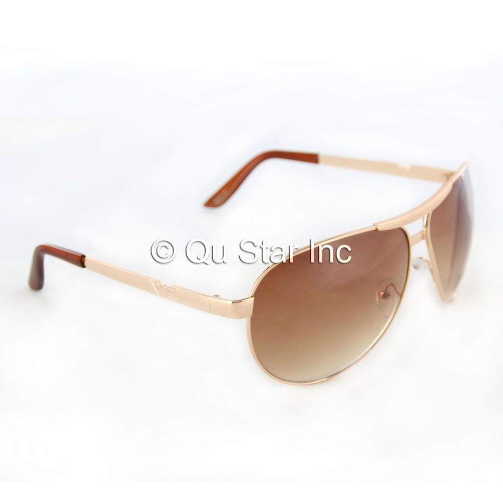 New Fashion Aviator Style Gold Frame Sunglasses Eyewear Shades UV400 Brown Lens | eBay