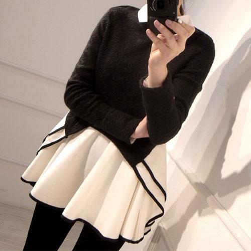 Black Long Sleeve Top White Chiffon Mini Shirt Dress [ghyxh36108] on Luulla