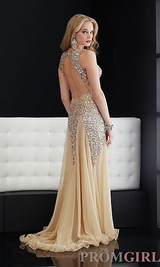 Jasz Backless Prom Dresses, Sexy Nude Color Prom Gowns -PromGirl