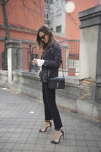 lady addict blogger jacket sunglasses bag yves saint laurent black pants suede jacket white blouse bell sleeves
