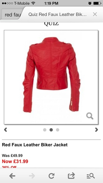 jacket red motorcycle jacket faux leather