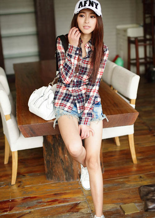 KDQ14 Women Button Down Lapel Shirt Plaids Checks Flannel Shirt Top Blouse 3820   eBay