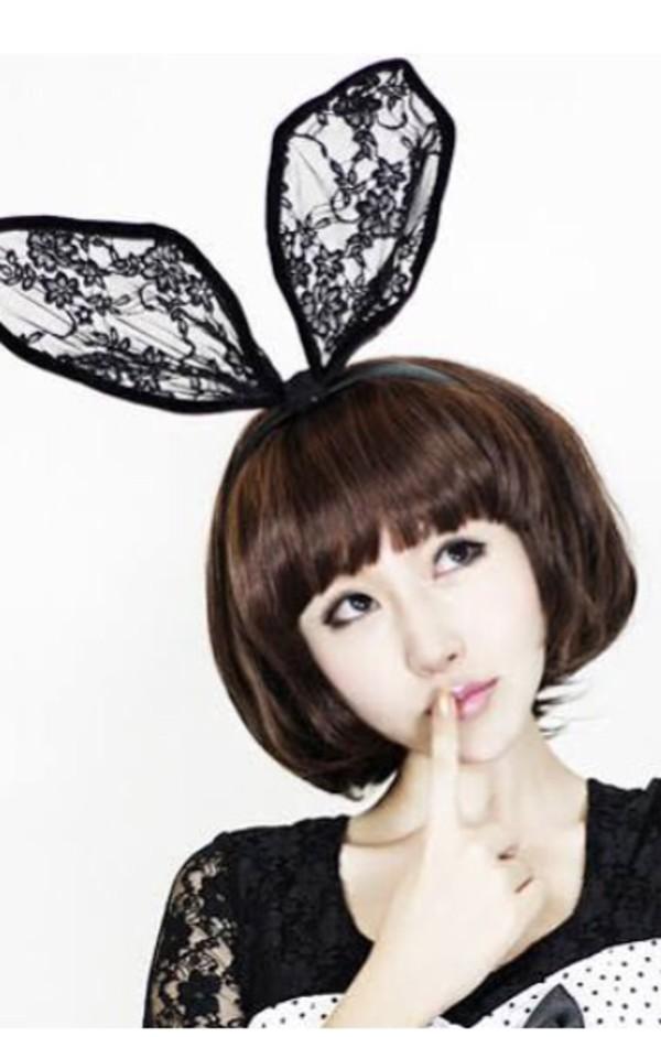 jewels rabbit ears lace black headband accessories bunny