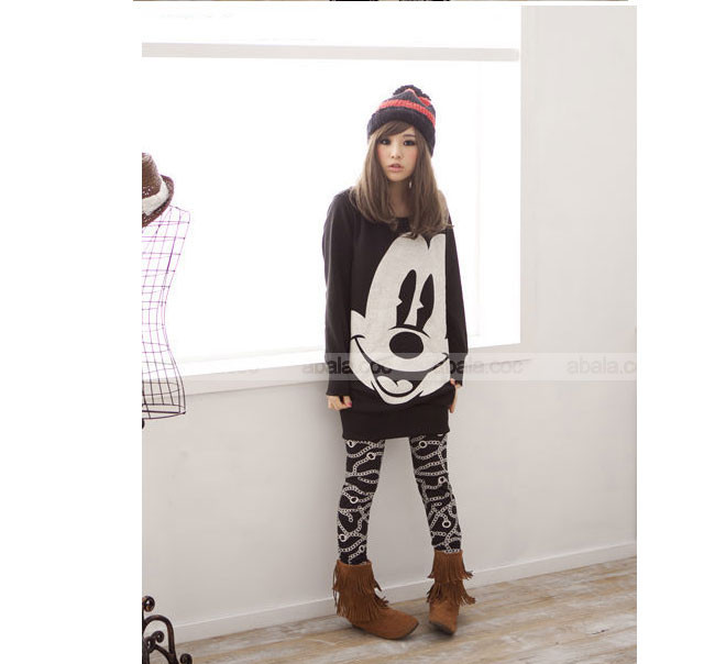 2013 New Autumn Womens Girls Lovely Long Hoodie Sweatshirt Long Sleeve big face Mickey Round neck pullovers #L0341493-in Hoodies & Sweatshirts from Apparel & Accessories on Aliexpress.com