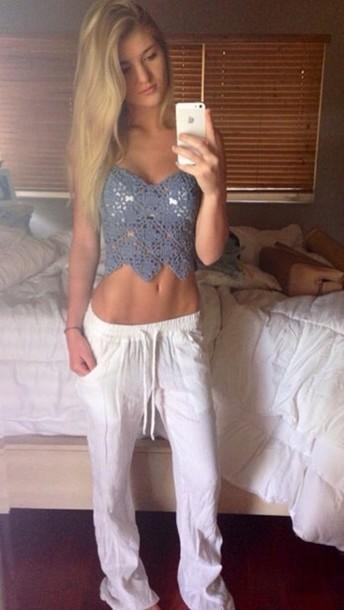 pants cropped crochet crop tops top