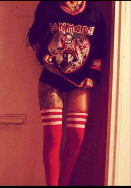 stripes iron maiden red band knee high socks band merch shirt leggings