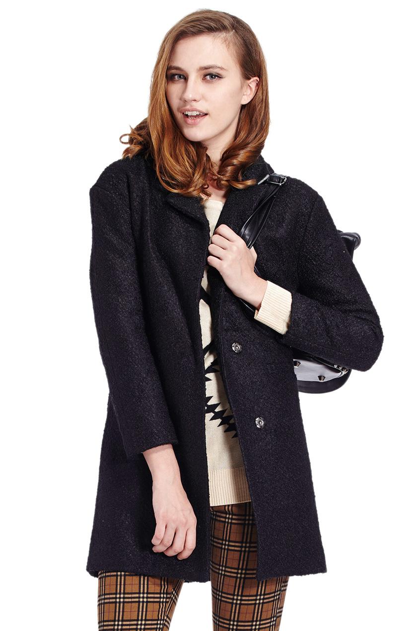 ROMWE   Buttoned Sheer Black Woolen Coat, The Latest Street Fashion