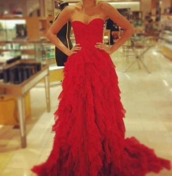 dress red dress chiffon dress strapless dress