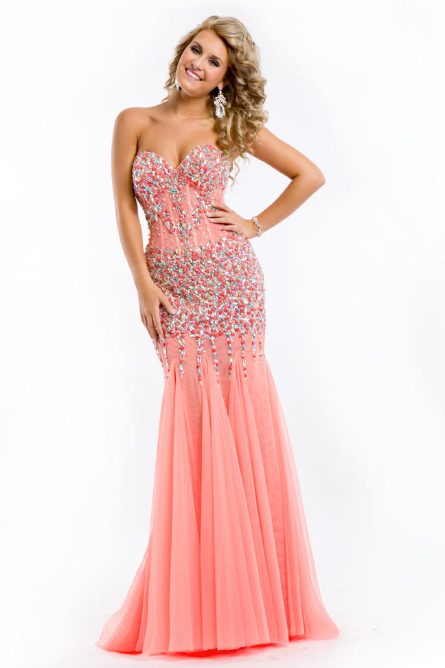 Party Time 6438 Lace Corset Prom Dress - French Novelty
