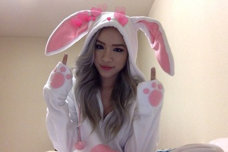 sweater bunny onesie pink and white pink white bunny ears bunny ears hoodie