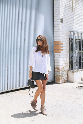 seams for a desire blogger jewels white top long sleeves mini skirt leather skirt lace up top summer outfits mini bag black bag
