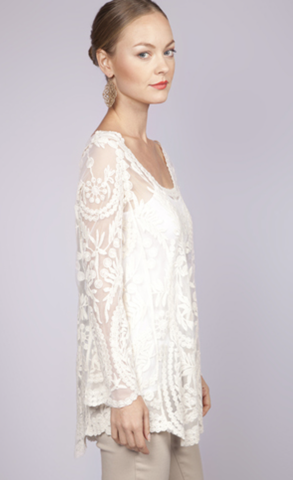 Off-white Three-Quarter/Long Sleeve Top - Ivory Long Sleeve Embroidered Sheer | UsTrendy