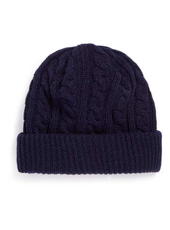 NAVY CABLE KNIT BEANIE - Hats   - Shoes and Accessories  - TOPMAN