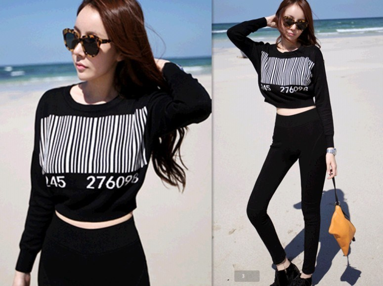 Freeshipping Bar code pattern black and white color block  short design long sleeve sweater Women's Pullovers Shirts-inPullovers from Apparel & Accessories on Aliexpress.com