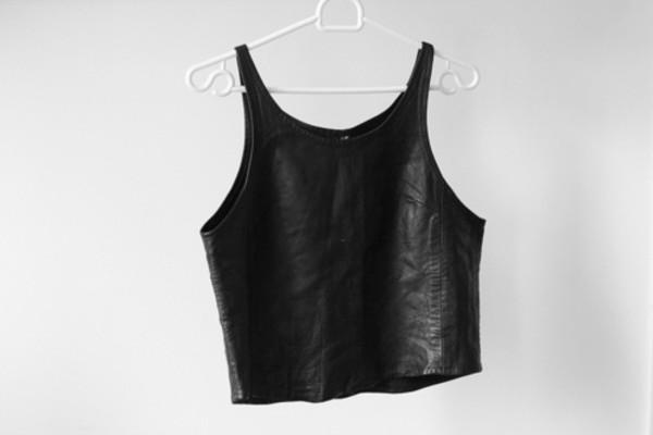tank top leather crop top