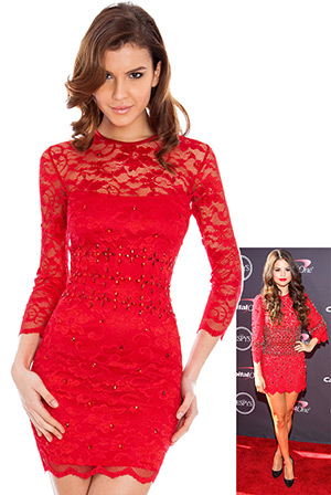 Jewelled Lace Scallop Hem Fitted Dress