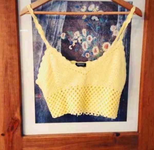 t-shirt crochet bralet yellow bralet