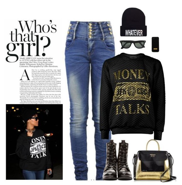 jumpsuit black gold hat jeans denim Pin up retro vintage rihanna rihanna outfit urban outfit summer swag money talks sweater sweatshirt hoodie ankle boots sunglasses high waisted jeans fall outfits tumblr girl polyvore polyvore