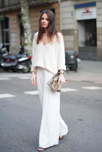 fashion vibe pants shoes sweater jewels bag gold clutch sequins clutch zina white pants wide-leg pants white sweater spring outfits blogger v neck