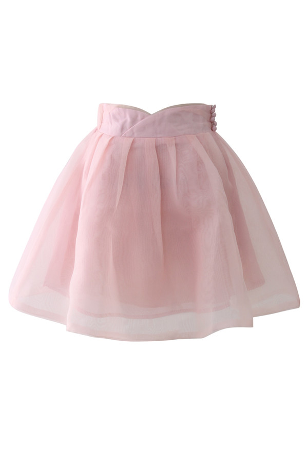 skirt sweet memory pastel pink organza