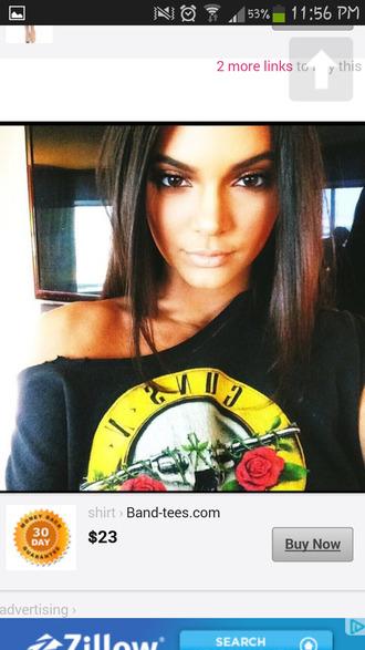 blouse kendall jenner guns and roses t-shirt