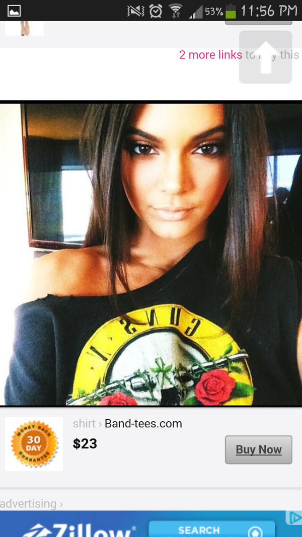 blouse kendall jenner guns and roses t-shirt
