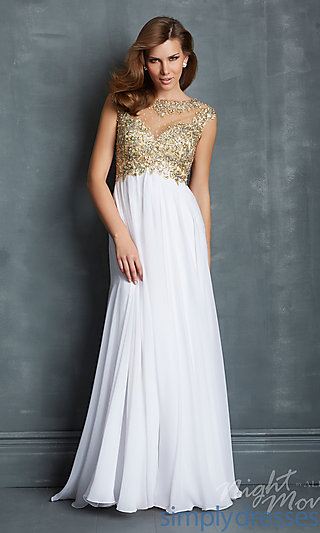 Dress, Long Open Back Gown with Cap Sleeves - Simply Dresses