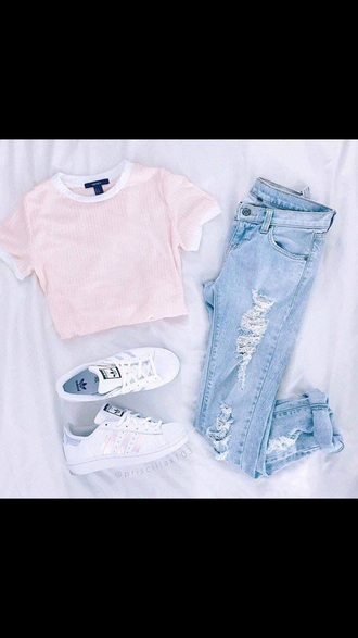 shirt blouse jeans adidas shoes pink ripped jeans white style lookbook cute outfit spring warm light jeans light pink stripes crop tops tumblr tumblr outfit cute outfits aesthetic top striped top pink top cropped t-shirt blue jeans t-shirt cropped crop