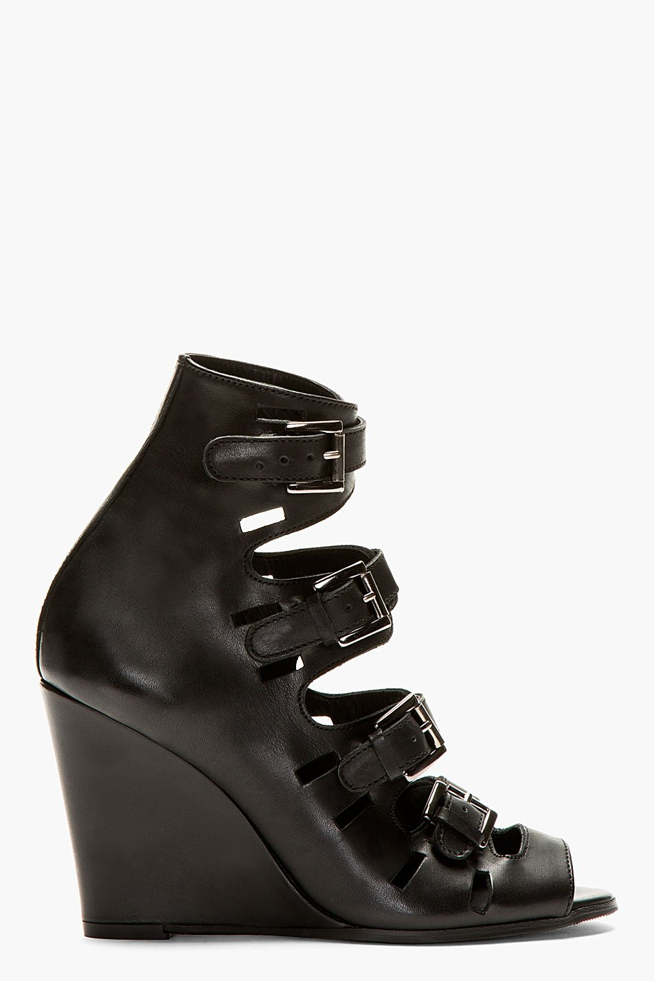 surface to air black leather buckle wedge sandals