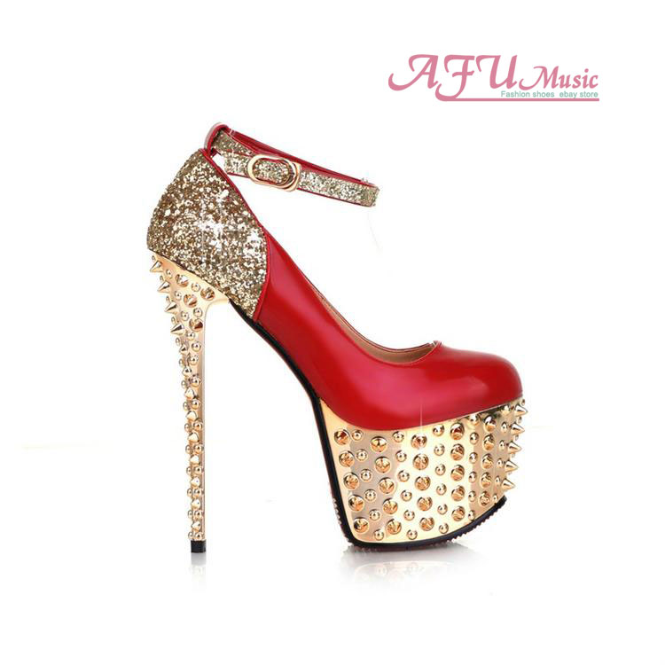 Women's Sticker Inlay High Heels Nightclub Shoes Bling Bling Ankle Strappy Pumps   eBay