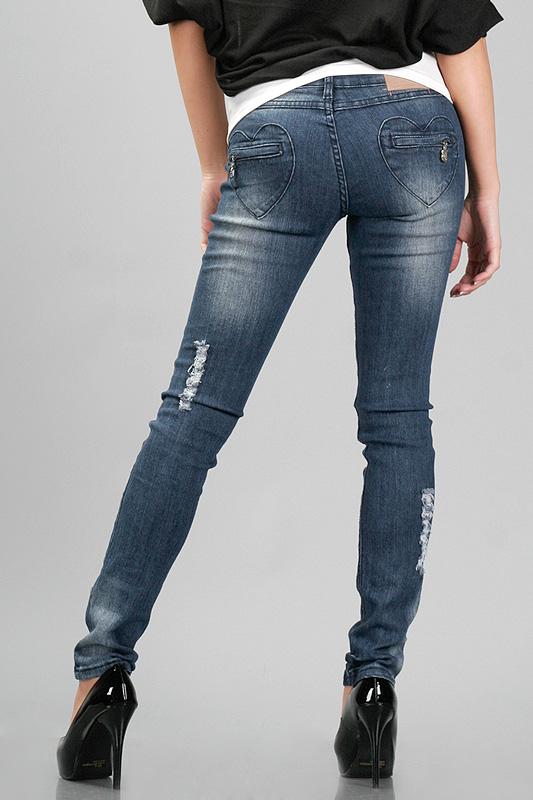 Heart Shape Pocket Skinny Jeans
